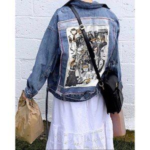 Zara Oversized Denim Moto Jacket Destroyed Patched